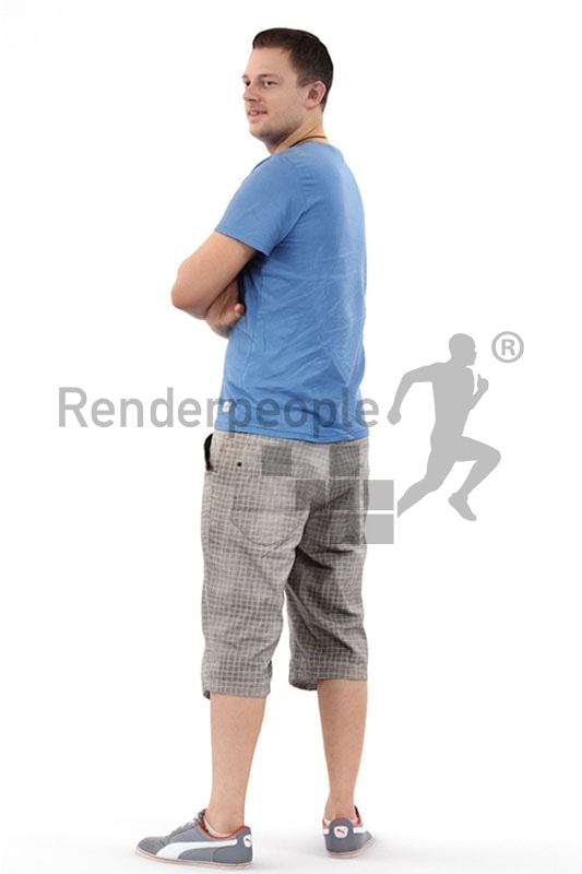 3d people casual, white 3d man wearing shorts