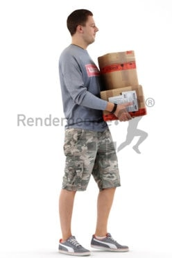 3d people casual, white 3d man carrying packages