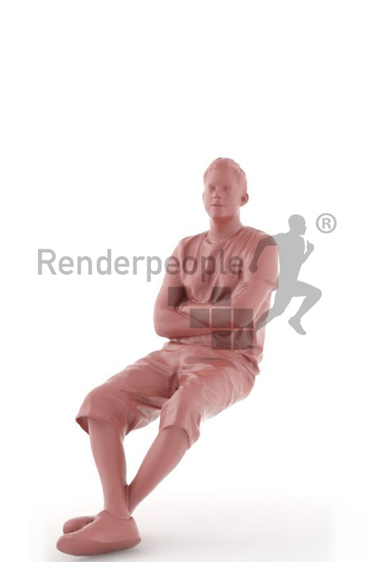 3d people casual, white 3d man in shorts sitting