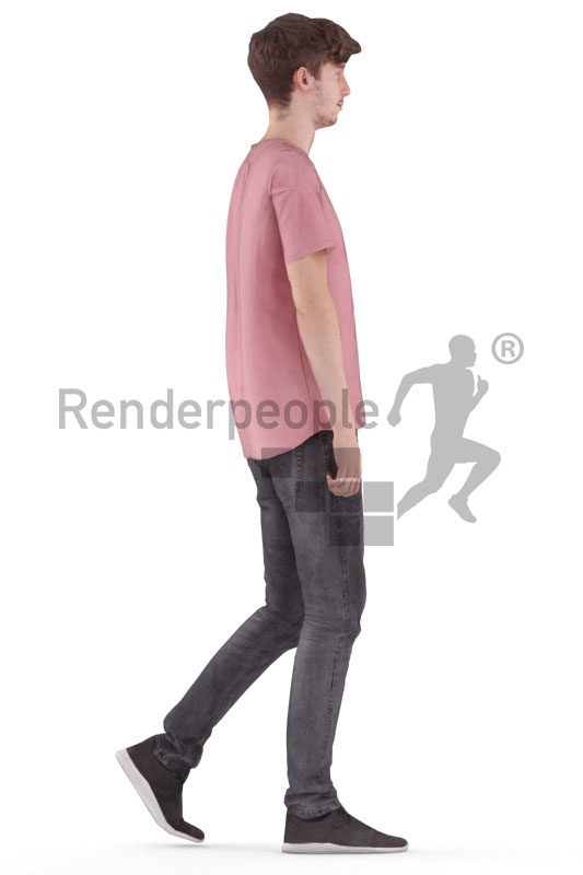 Animated 3D People model for Unreal Engine and Unity – european male in daily outfit, walking