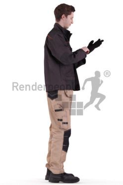 3d people worker, white 3d man standing and putting on gloves