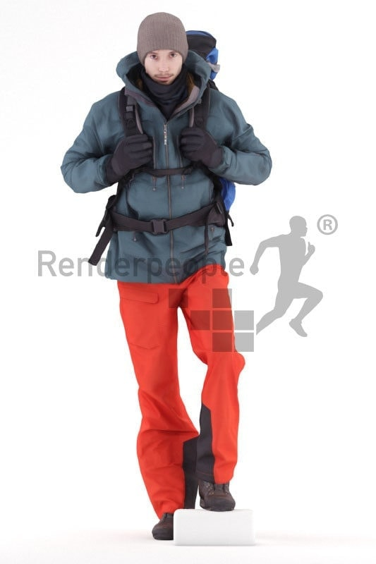 3d people outdoor, white 3d man walking and