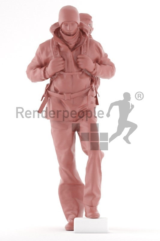 3d people outdoor, white 3d man walking and hiking