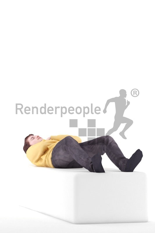 3d people casual, white 3d man lies and sleeping on a couch