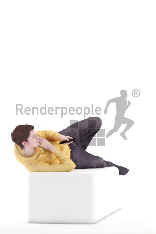 3d people casual, white 3d man lying down using the remote