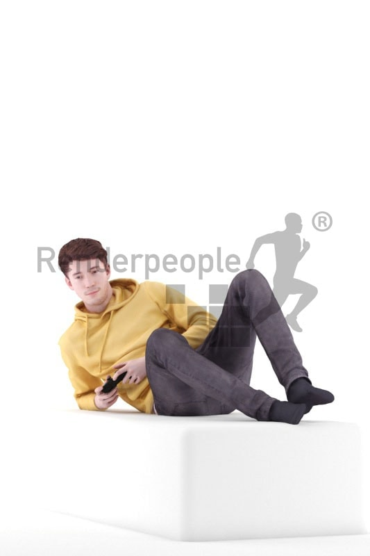 3d people casual, white 3d man lies and gaming
