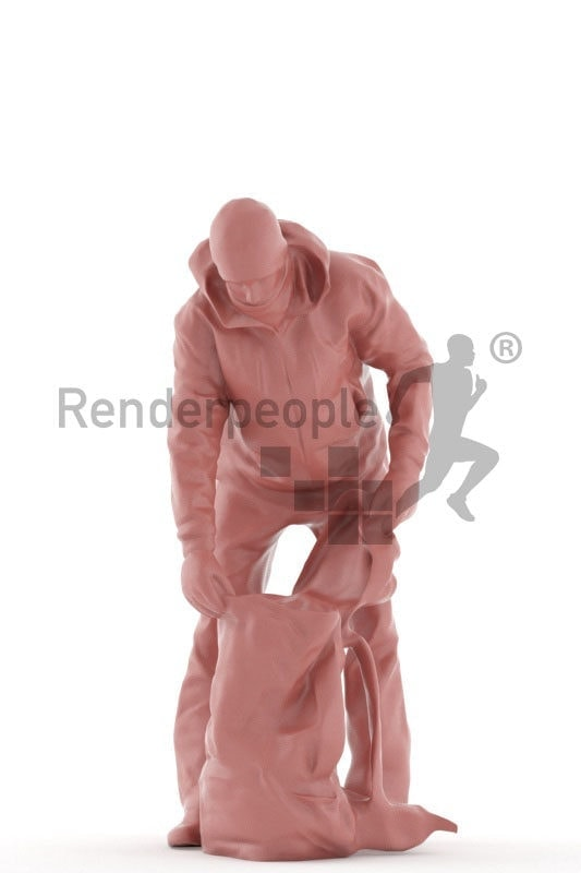 3d people outdoor, white 3d man standing and looking into bag