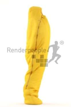 3d people outdoor, white 3d man sleeping in sleepingbag