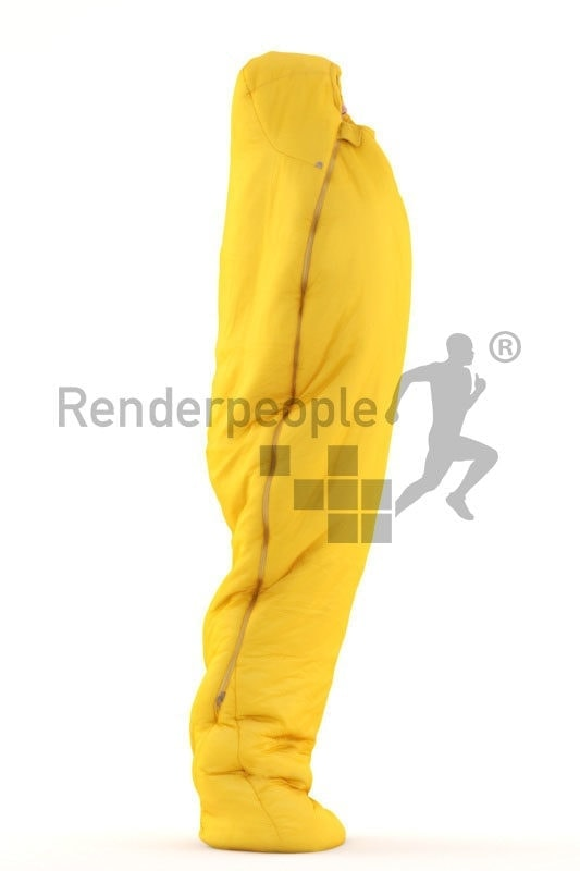 3d people outdoor, white 3d man sleeping in sleeping bag