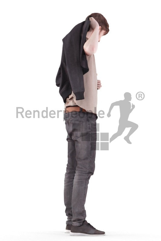 3d people casual, white 3d man standing and wearing jacket