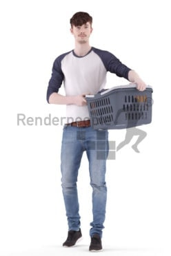 3d people casual, white 3d man walking and carrying basket