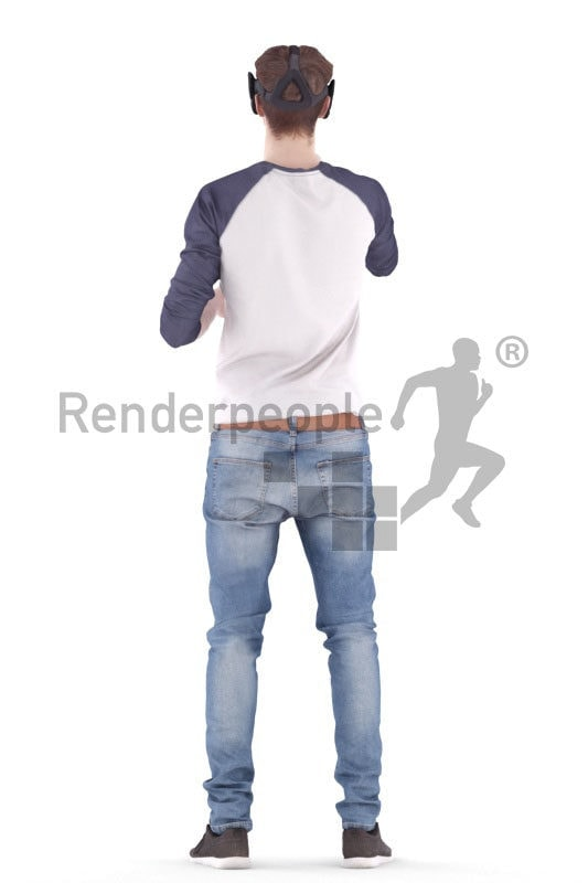 3d people casual, white 3d man wearing VR headset