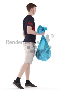 3d people casual, white 3d man walking and bringing the trash out