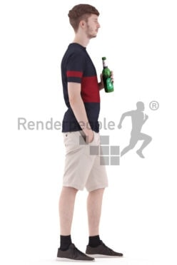 3d people casual, white 3d man holding a cup of beer