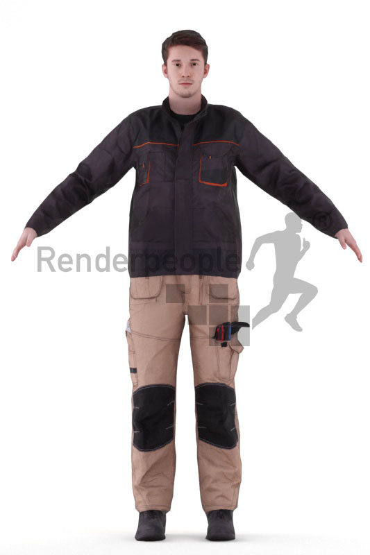 Rigged 3D People model for Maya and 3ds Max – white man in work wear
