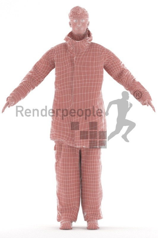 Rigged 3D People model for Maya and 3ds Max – european man in fireworker outfit