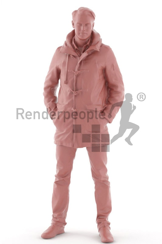 3d people outdoor, white 3d man wearing a warm jacket