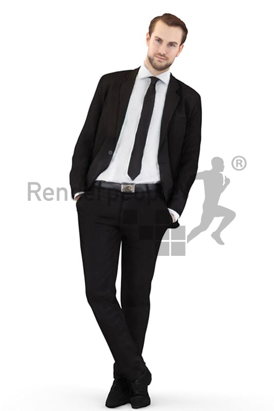 3d people business, white 3d man wearing a suit