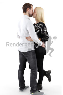3d people, kissing 3d couple