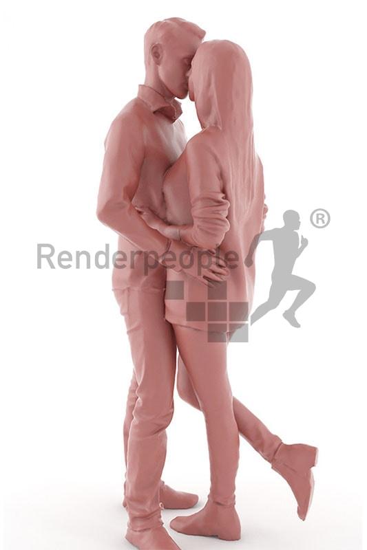 3d people, kissing 3d couple