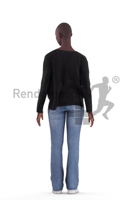 3D People model for animations – black woman, standing, casual style
