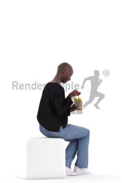 Posed 3D People model for renderings – casual black woman, eating fries