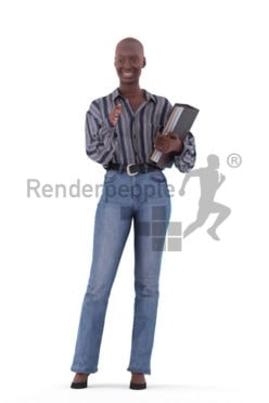 Scanned human 3D model by Renderpeople – black woman, business, communicating