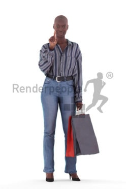 3D People model for 3ds Max and Maya – casual black woman with shopping bags, pointing on something
