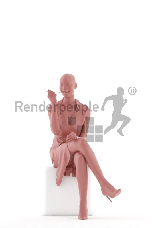Posed 3D People model for visualization – black woman eating, event