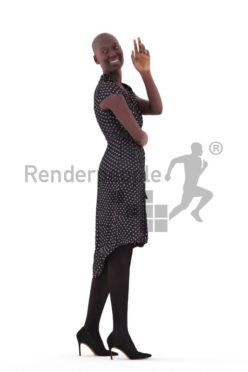 Scanned human 3D model by Renderpeople – black woman in event dress, greeting