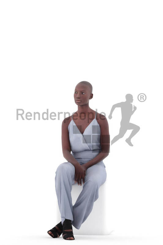 3D People model for 3ds Max and Blender – black woman, sitting at an event, wearing a jumpsuit