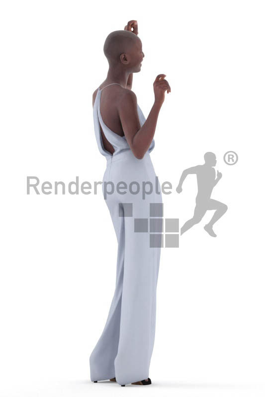 3D People model for 3ds Max and Blender – black woman, dancing at an event, wearing a jumpsuit