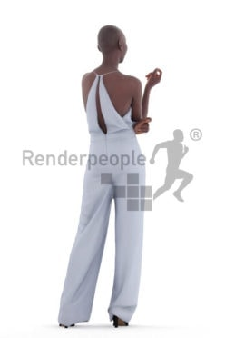 3D People model for 3ds Max and Blender – black woman, communicating at an event, wearing a jumpsuit