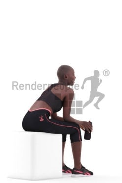 Scanned human 3D model by Renderpeople – black woman in sport wear, sitting with a bottle
