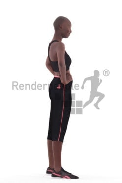 3D People model for 3ds Max and Sketch Up – black woman, gym wear