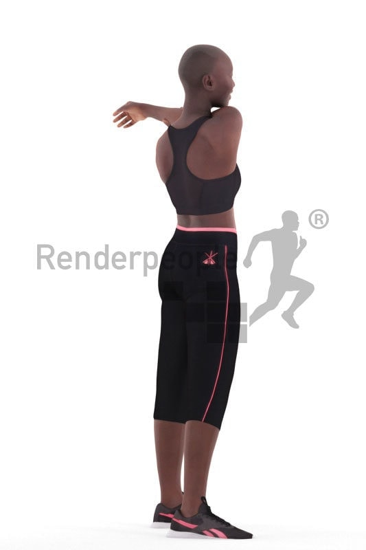Posed 3D People model for visualization – black woman, doing sports