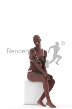 3D People model for 3ds Max and Blender – black woman, sitting, swimm wear