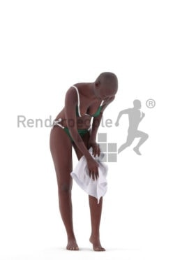 Photorealistic 3D People model by Renderpeople – black woman in bikini, using a towel