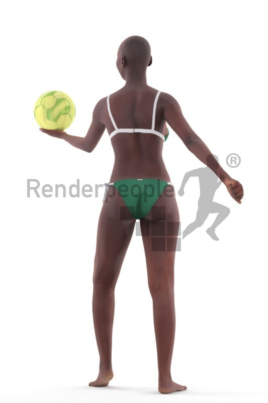 Scanned human 3D model by Renderpeople – black woman in swimm suits, Paying volleyball