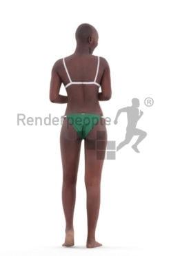 Realistic 3D People model by Renderpeople – black woman in bikini, communicating