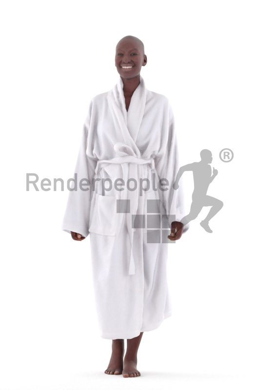 3D People model for 3ds Max and Sketch Up – black woman, with bathrobe