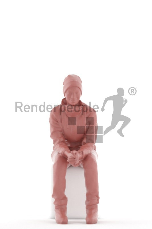 Photorealistic 3D People model by Renderpeople – black woman, sitting, with skii equipment