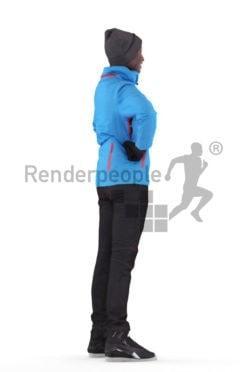 Photorealistic 3D People model by Renderpeople – black woman standing, skii wear