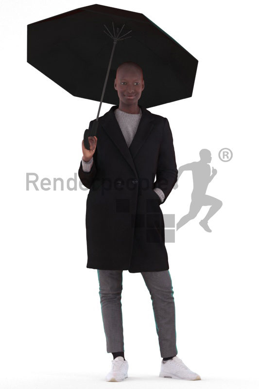 Posed 3D People model for renderings – black woman, standing, outdoor, with umbrella
