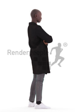 Posed 3D People model for renderings – black woman, standing, outdoor
