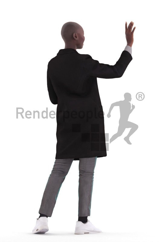 Scanned human 3D model by Renderpeople – black woman, outdoor, greeting