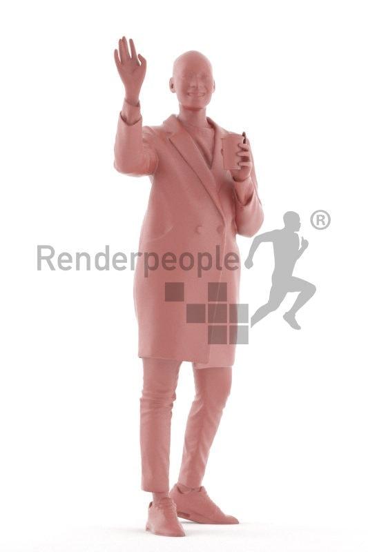 Scanned human 3D model by Renderpeople – black woman, outdoor, greeting