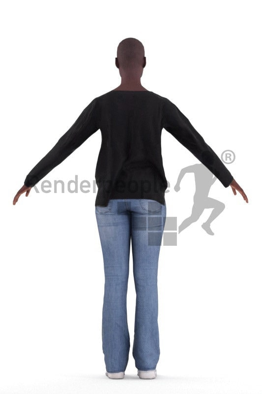 Rigged and retopologized 3D People model – african woman in casual clothes