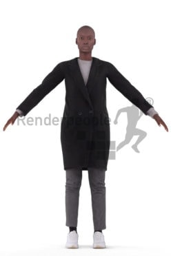 Rigged 3D People model for Maya and Cinema 4D – black woman in outdoor look