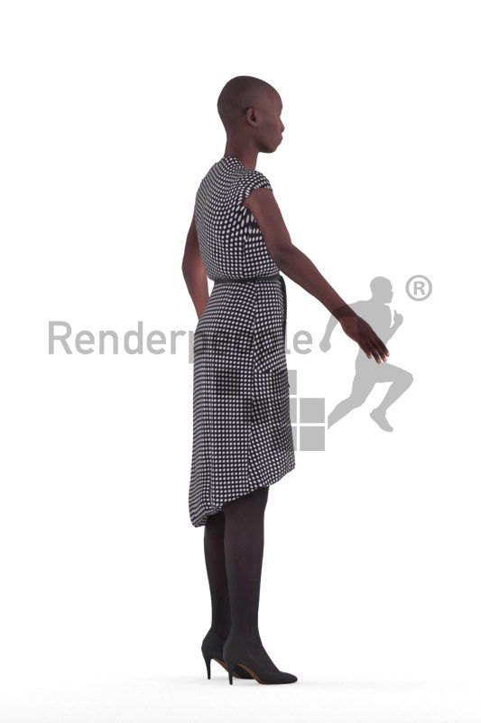 Rigged and retopologized 3D People model – black woman, event
